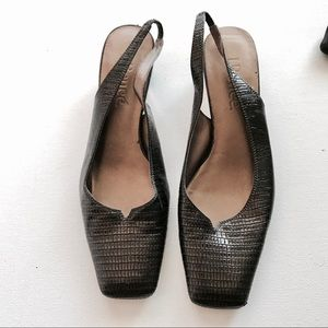 J.Renee Shoes - J Renee Brown Faux Snake Slingback Flats Size 8M
